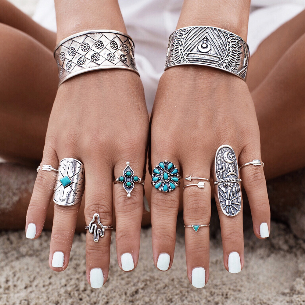 9pcs/Set Vintage Bohemian Resin Ring Set Unique Carved Antique Silver Knuckle Rings for Women Gypsy Midi Anel Boho Beach Jewelry