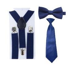 Детские темно-синие подтяжки для мальчиков и девочек, подтяжки, Y-Back, подтяжки, регулируемые галстуки, галстуки-бабочки, вечерние комплекты для детей от 1 до 8 лет, HHtr0007a10