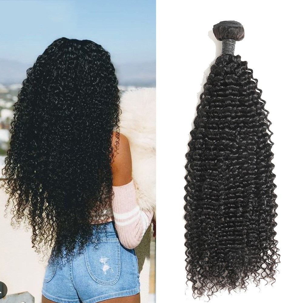 Zing Silky Afro Kinky Curly Hair 1/3/4 pc Natural Color 8-26inch Brazilian Hair Weave Bundles Remy Human Hair Extensions 1B#(China)