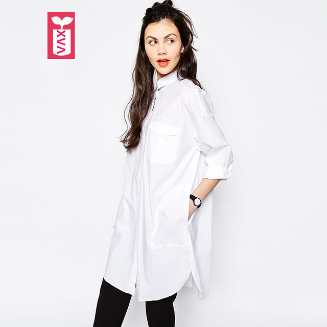 f9284b439095 Drop Ship Oversize Export 2017 New Ladys White Cotton Loose Blouse Women  Long Sleeve Long Shirtdress Female Tops Tees Autumn