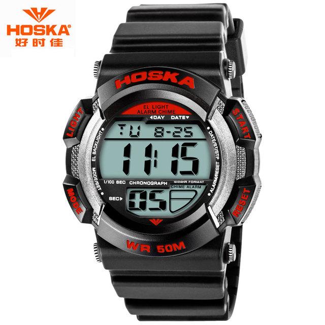 Relógio do esporte para Crianças HOSKA Marca Back Light Tempo Cronômetro Banda De Plástico De Borracha À Prova D' Água Digital-Relógio relojes de mujer H007