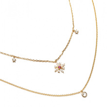 cz flower drop charm double layer 2 women chain necklace 925 sterling silver collar