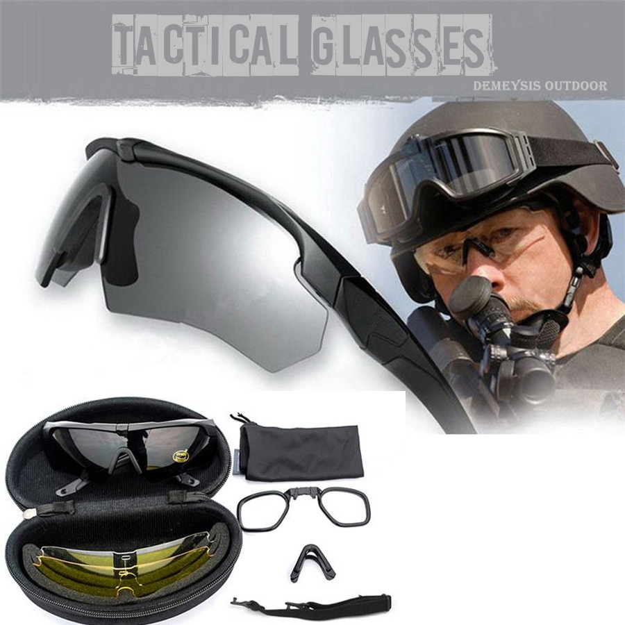 decfbd2f87f18 Óculos de Sol com Logotipo Eua Tático Militar Óculos de Proteção Balístico 3  Lentes Exército Original Homens Tactical Eyeshield