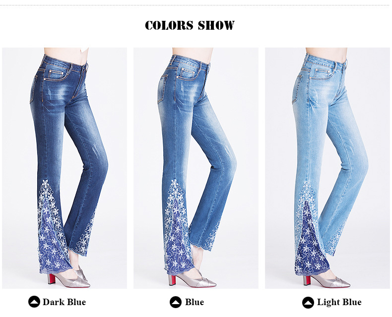 KSTUN FERZIGE New Jeans Woman Embroidered Trousers Lace Bell Bottoms Design Light Blue Stretch High Waisted Jeans Sexy Ladies Mujer 36 11
