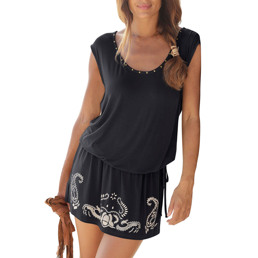 Summer dresses women 2019 summer dress girl Casual Sleeveless Retro Print O-Neck dress elegant plus size summer dress Feb28