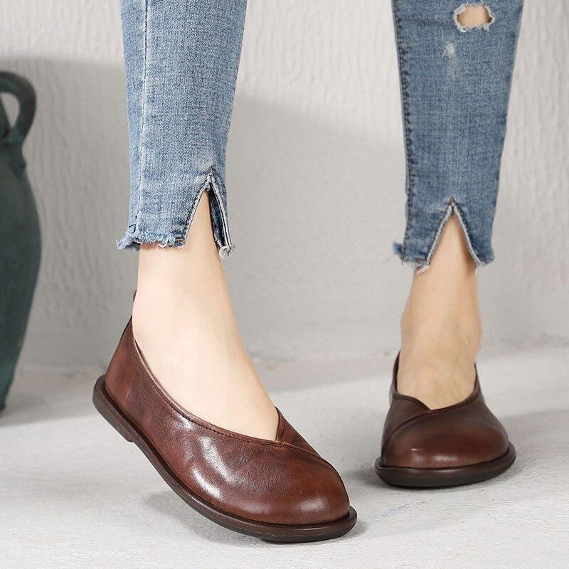 Ayakk.'ten Kadın Topuksuz Ayakkabı'de 2019 VALLU Yuvarlak Ayak Kadın Daireler Konfor Yumuşak Hakiki Deri Bayan Ayakkabıları El Yapımı Vintage düz ayakkabı Kadın Loafer'lar'da  Grup 1