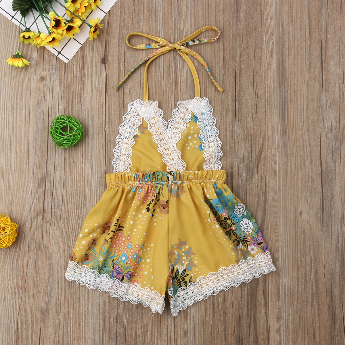 Newborn Baby Girl Lace Flower Print Sleeveless Backless   Romper   Jumpsuit Summer Outfit Clothes