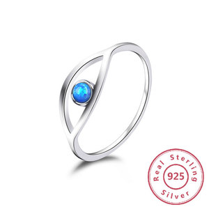 Image 2 - Blue Turquoise 925 Sterling Silver Rings For Women Engagement Ring Silver 925 Jewelry Opal Rings Luxury Gift to Friends