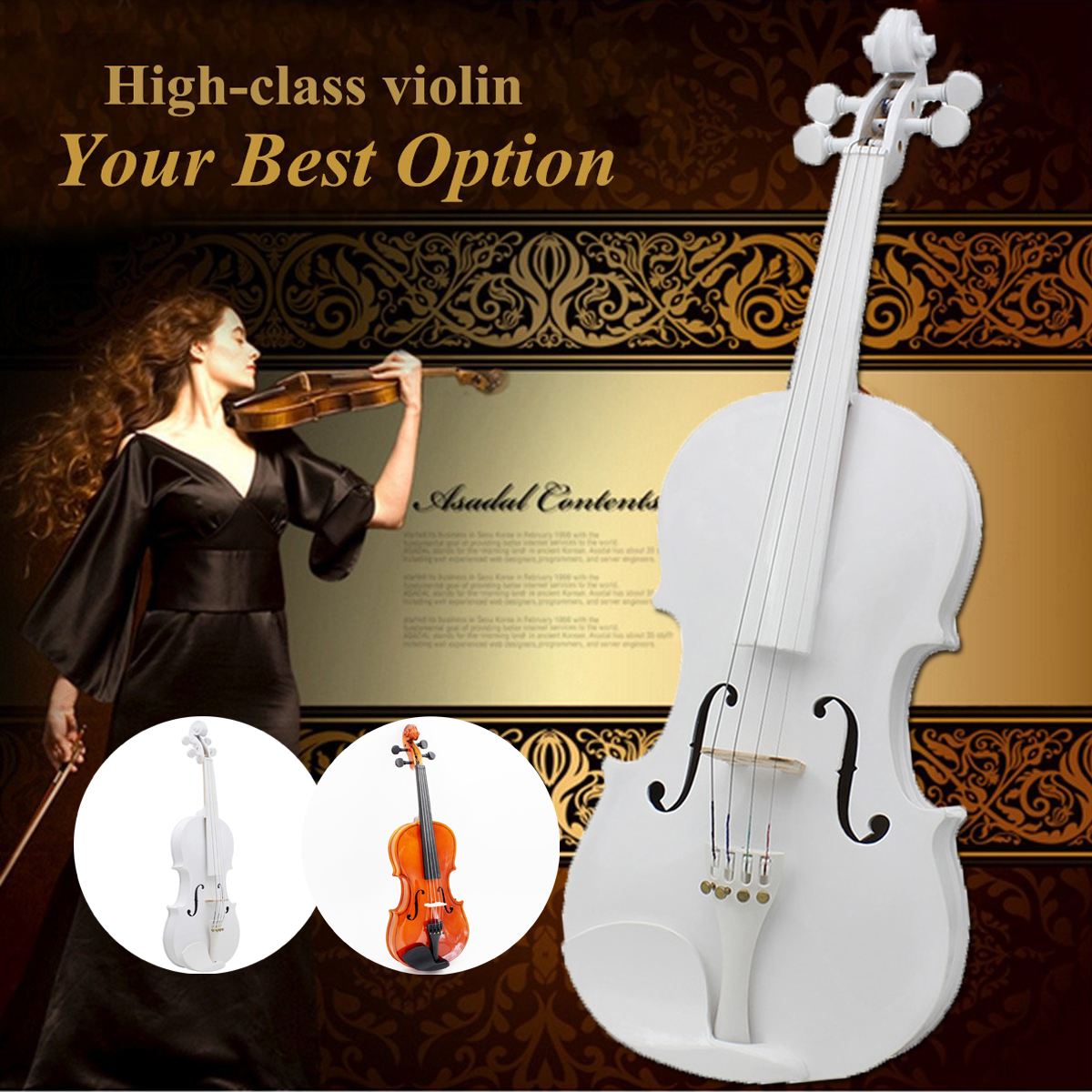 White 4/4 Full Size Natural Acoustic Violin Fiddle With Case Bow Basswood Violin 4 Stringed Instrument For Beginner Practice 5pcs professional violin use black 5 prong rubber 4 4 3 4 violin silencers fiddle practice mutes for violin accessories