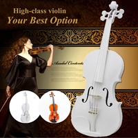 White 4/4 Full Size Natural Acoustic Violin Fiddle With Case Bow Basswood Violin 4 Stringed Instrument For Beginner Practice