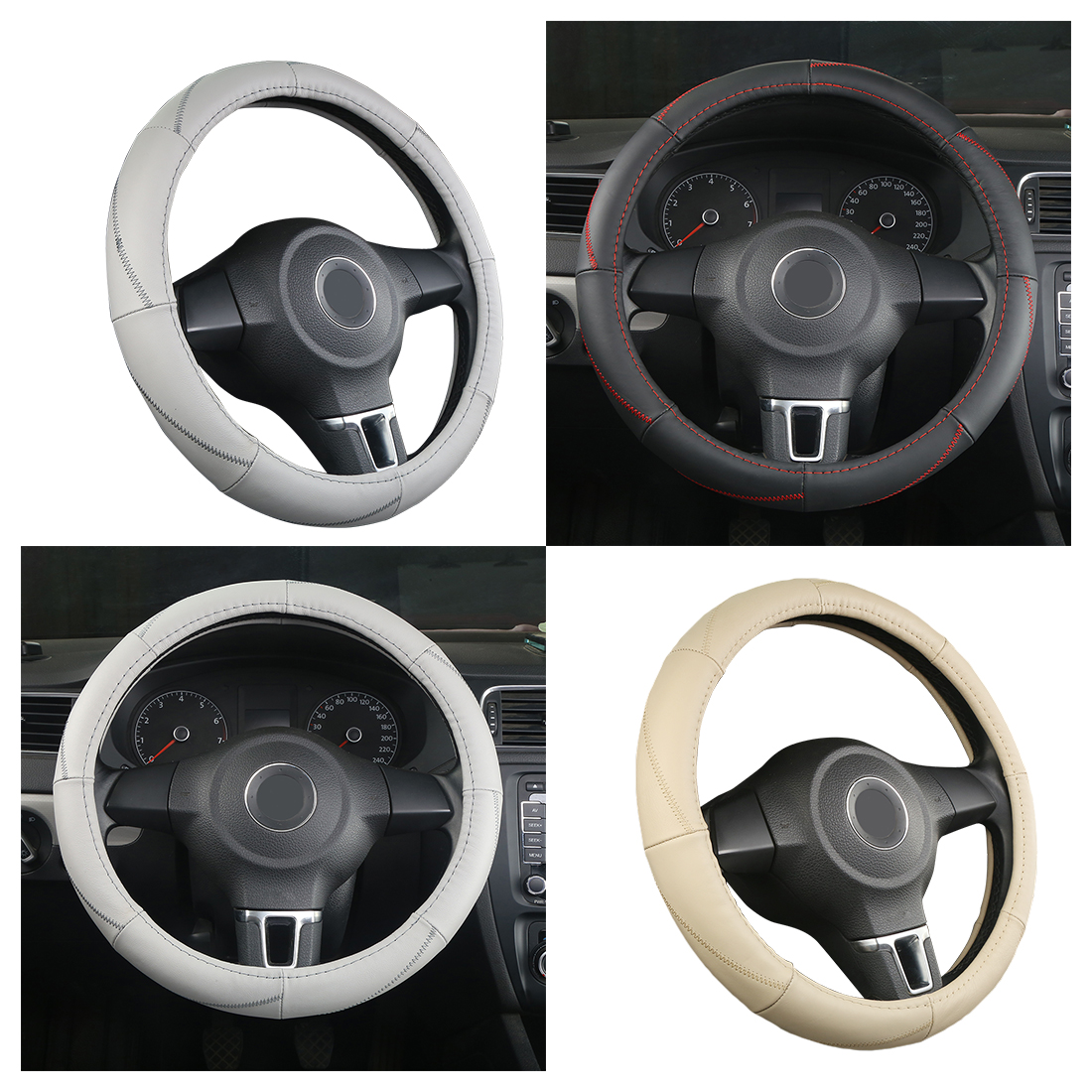 Dewtreetali Auto Car Steering Wheel Cover 38cm Genuine Leather Elegant Car Steering-wheel Decoration Car-styling Black Beige
