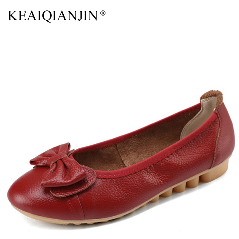 KEAIQIANJIN Woman Genuine Leather Oxfords Plus Size 34 - 41 Autumn Cheap Red Nurse Shoes Butterfly Loafers Calzado Mujer Flats keaiqianjin woman genuine leather shoes spring autumn black brown loafers shoes lazy plus size flats genuine leather loafers