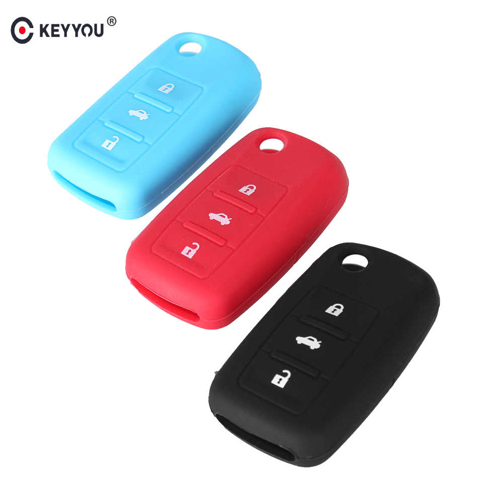 KEYYOU Hot Silicone Chave do Caso Fob 3 Botões Para VW Volkswagen Golf Jetta Beetle Passat Polo Coelho MK4 MK5 5 r32 Tampa Da Chave Do Carro