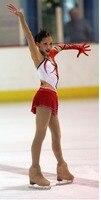 girls figure skating dresses black red dress skating ice competition kids skating dress custom size free shipping