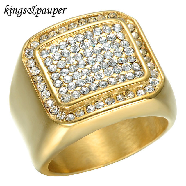 Titanium Stainless Steel Rings Iced Out Bling Square Hip Hop Micro Pave  Rhinestone IP Gold-color Filled for Men Jewelry Gift aa409851e42e