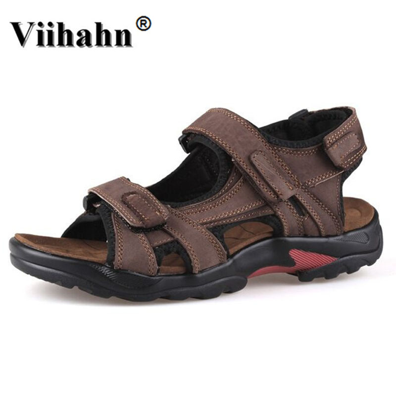 2017 Men Sandals Summer Genuine Leather Sandals Men Outdoor Casual - Men's Shoes