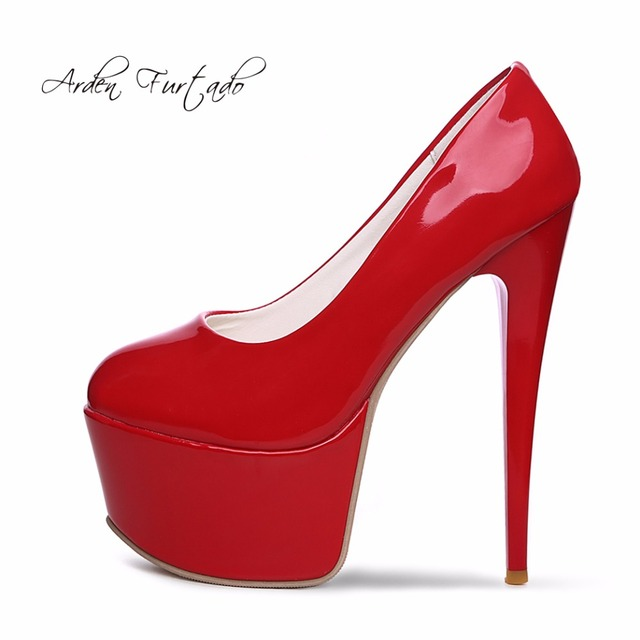 f7a9b7013d 2017 spring autumn red black white pumps shoes for woman extreme high heels  sexy platform dress wedding Stiletto 16cm small size