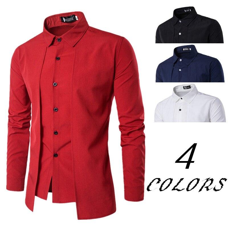 Neue Marke 2018 Männer Hemd Gefälschte Zwei Türen Kleid Hemd Langarm Slim Fit Camisa Masculina Casual Männlichen Hawaiian Shirts 2XL
