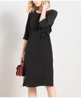Heavy silk dress spring 2018 new female seven long sleeve black silk skirt width sungsang