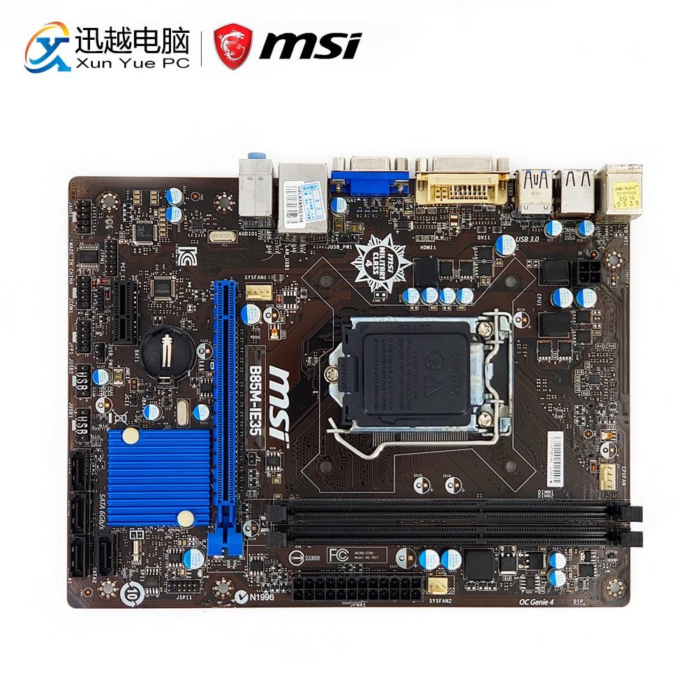 MSI B85M-IE35 Desktop Motherboard B85 Socket LGA 1150 i3 i5 i7 DDR3 16G SATA3 USB3.0 VGA DVI Micro-ATX все цены