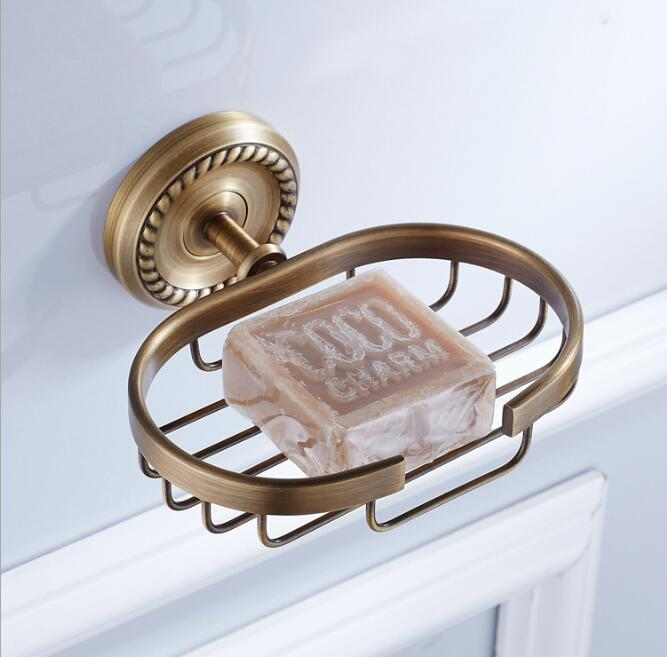 European Style Brass Antique Bronze Solid Brass Bathroom Soap Holder Soap Basket Bathroom Accessories soap dish Bathroom shelf european style brass black oil brushed solid brass bathroom soap holder ceramic cup soap basket bathroom accessories