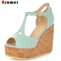Asumer Large Size 33 45 Women Shoes Peep Toe Buckle Wedges Shoes Summer Princess Fan Pumps