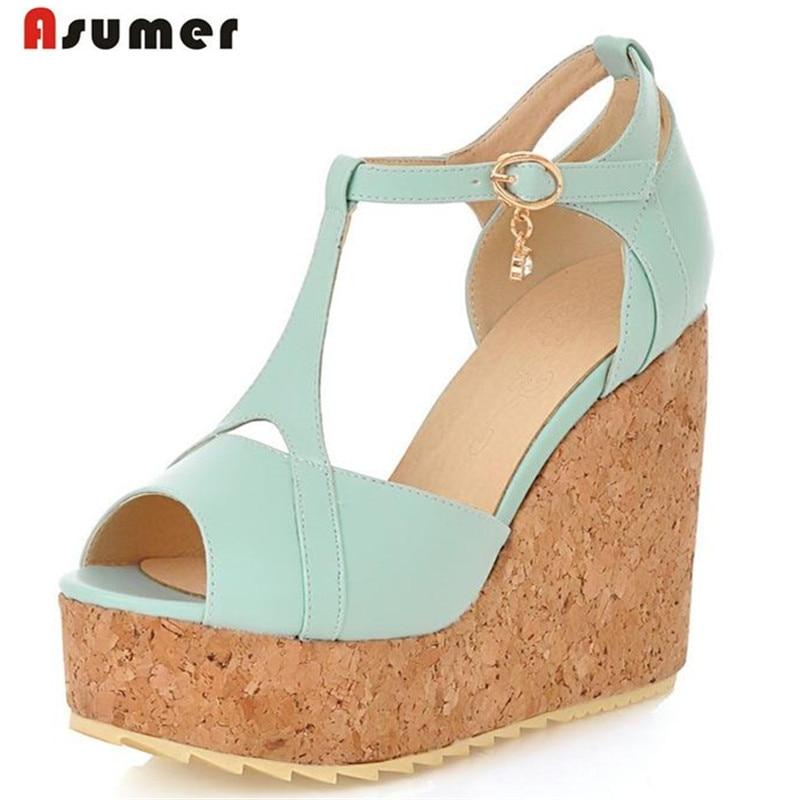Asumer Large size 33-45 women sandals peep toe buckle wedges shoes summer princess fan pumps  platform pu 4 colors  platform