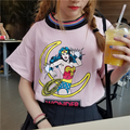 All Match Casual Strpied Colorful O-neck Cartoon Printed Fashion Short Sleeve Female T-shirts