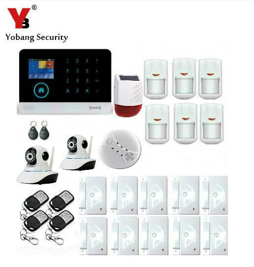 Yobang Sicherheit Wireless Home Gsm Alarm System Mit Wireless Sirene Ip Kamera Rauchmelder Sensor App Fernbedienung Alarm System Kits Sicherheitsalarm