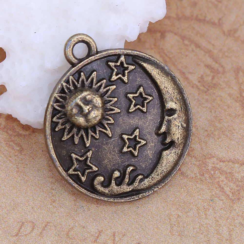 DoreenBeads Zinc Based Alloy Antique Bronze Charms Round Sun And Moon Face DIY Components 23mm( 7/8) x 20mm( 6/8), 20 PCs