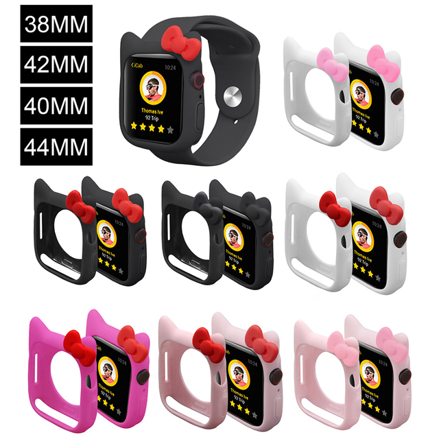82993cec3 Hello Watch Watchbands Silicone Soft Case For iWatch Series 1 2 3 4 Cover  For Apple Watch 38mm 42m40mm 44mm Cute Kitty Ears case