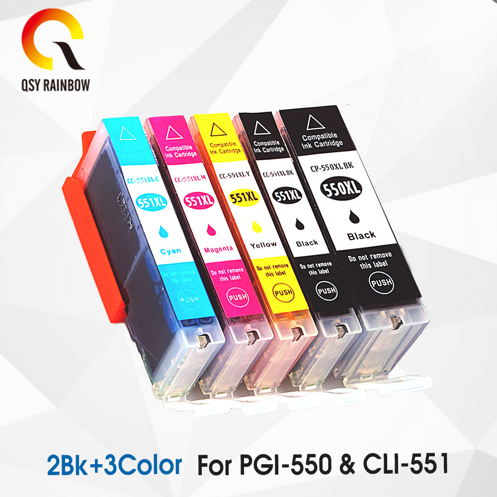 5 Pk PGI-550 CLI-551 PGI 550 CLI 551 Ink Cartridges For Canon Pixma MG 5450 5550 6350 6450 7150 8750 IP 7250 MX 925 725 1set 5pcs pgi 670 cli 671 empty refillable ink cartridges for canon pgi670 cli671 pixma mg5760 mg7760 mg6860