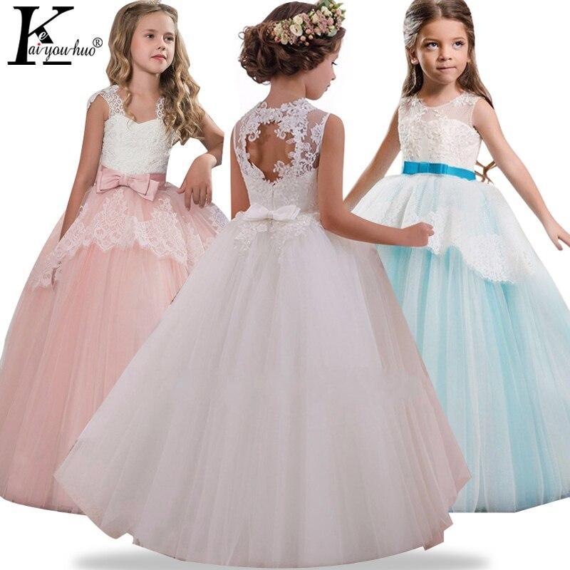 Alta calidad verano partido niñas vestido elegante rendimiento niños vestidos para Niñas Ropa niños princesa traje del vestido de boda