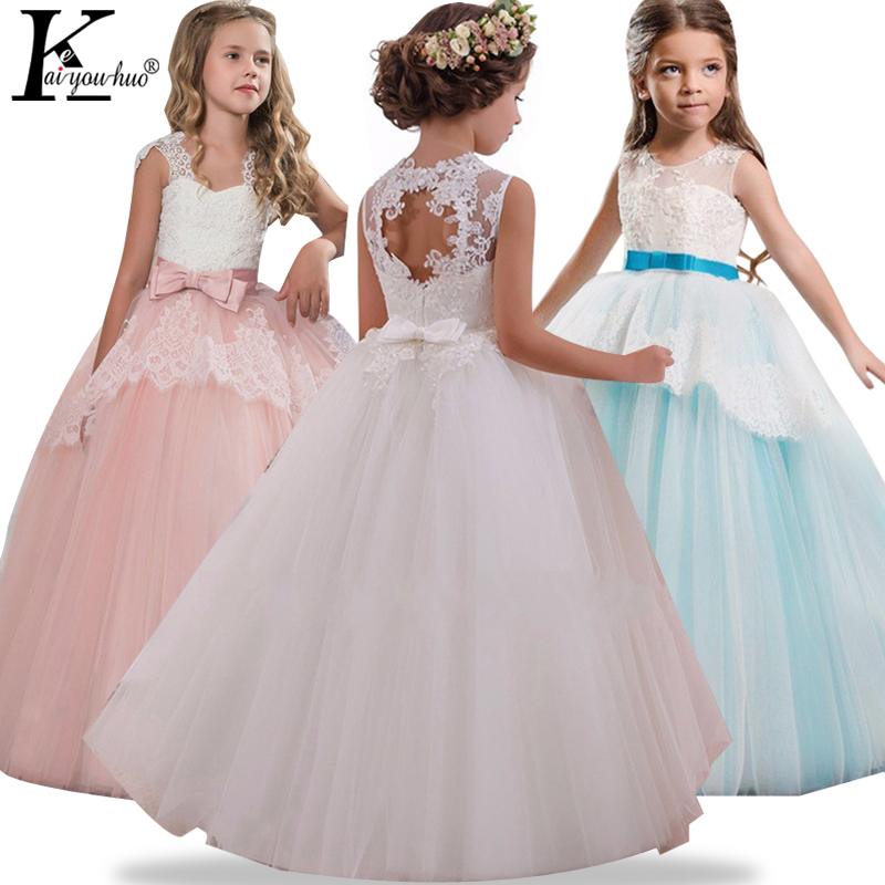 High Quality Summer Party Girls Dress Elegant Performance Kids Dresses For Girls Clothes Children Princess Wedding Dress Costume high quality women pleated summer dress 2017 new runway designer vintage elegant green lace bird embroidery maxi party dresses