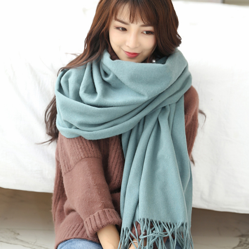 High Quality Pure Wool Winter Scarf Women Scarves Solid Color Lady Scarf Pashmina Tassel Large Black