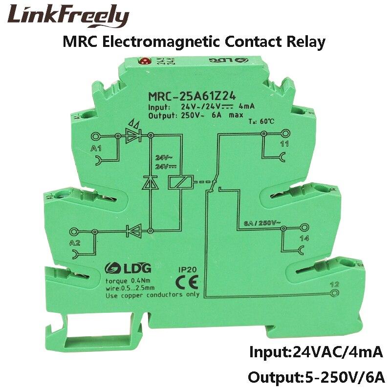 MRC-25A61Z24 1z 24vac bobina plc relação de contato eletromagnética relé módulo 6a 250vac/dc carga led interruptor de relé tensão din