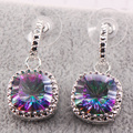 New Rainbow Simulated Topaz Woman 925 Sterling Silver Crystal Earrings TE456