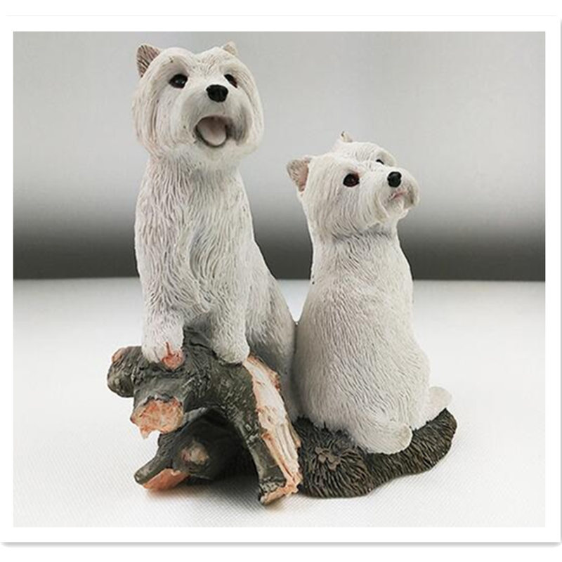 West Highland Terrier doggy on the tree figure,car styling home room decoration,poodle decorative article Christmas gift toy the highland fling murders