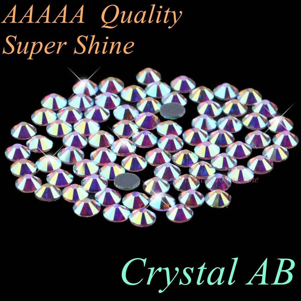 Top Qaulity! AAAAA Luxury Hotfix Rhinestone Crystal AB SS4 to SS50 Mixed Size Glass Crystals Iron On Hot Fix Rhinestones