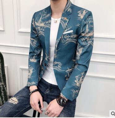 Korean spring printing jacket men blazer masculino slim fit casaco jaqueta masculina fashion coats mens suits Chinese style 3XL ...