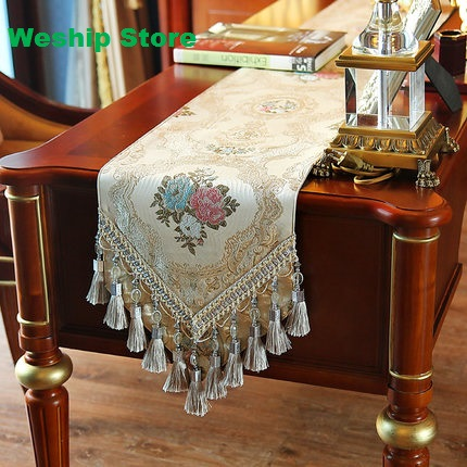 Fashion Home Amazing Imitated Silk Fabric Golden Jacquard table runner Lace Luxury Table flag and Placemat