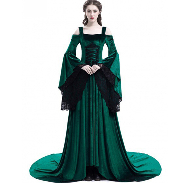 Women Party Maxi Dress Elegant Medieval Gown Green Vintage Goth Lace Flare Sleeve High Waist Plus Size Retro Black Long Dresses 2