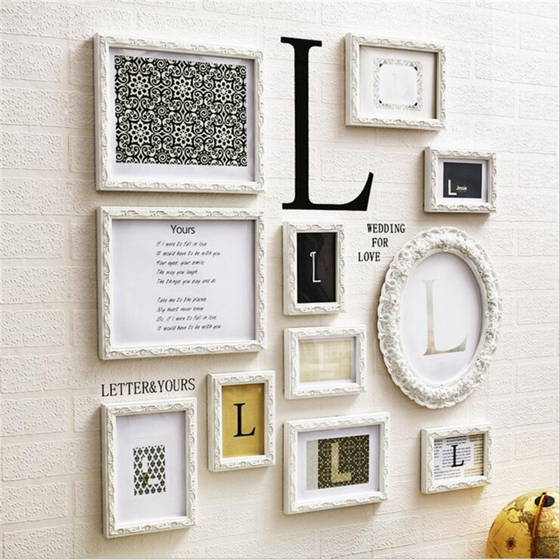 Top Quality 16 pieces/set Wooden Photo Frame Hang Wall, White Color ...