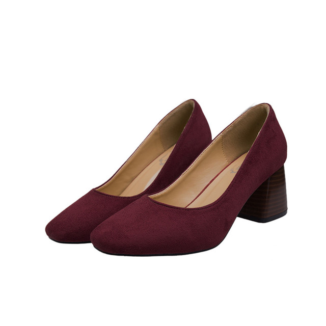 GAMISS Women Spring Autumn Soft Suede Leather Thick Heel Pumps Shoe Daily Casual Women Shallow Work Shoes Square High Heel Shoes