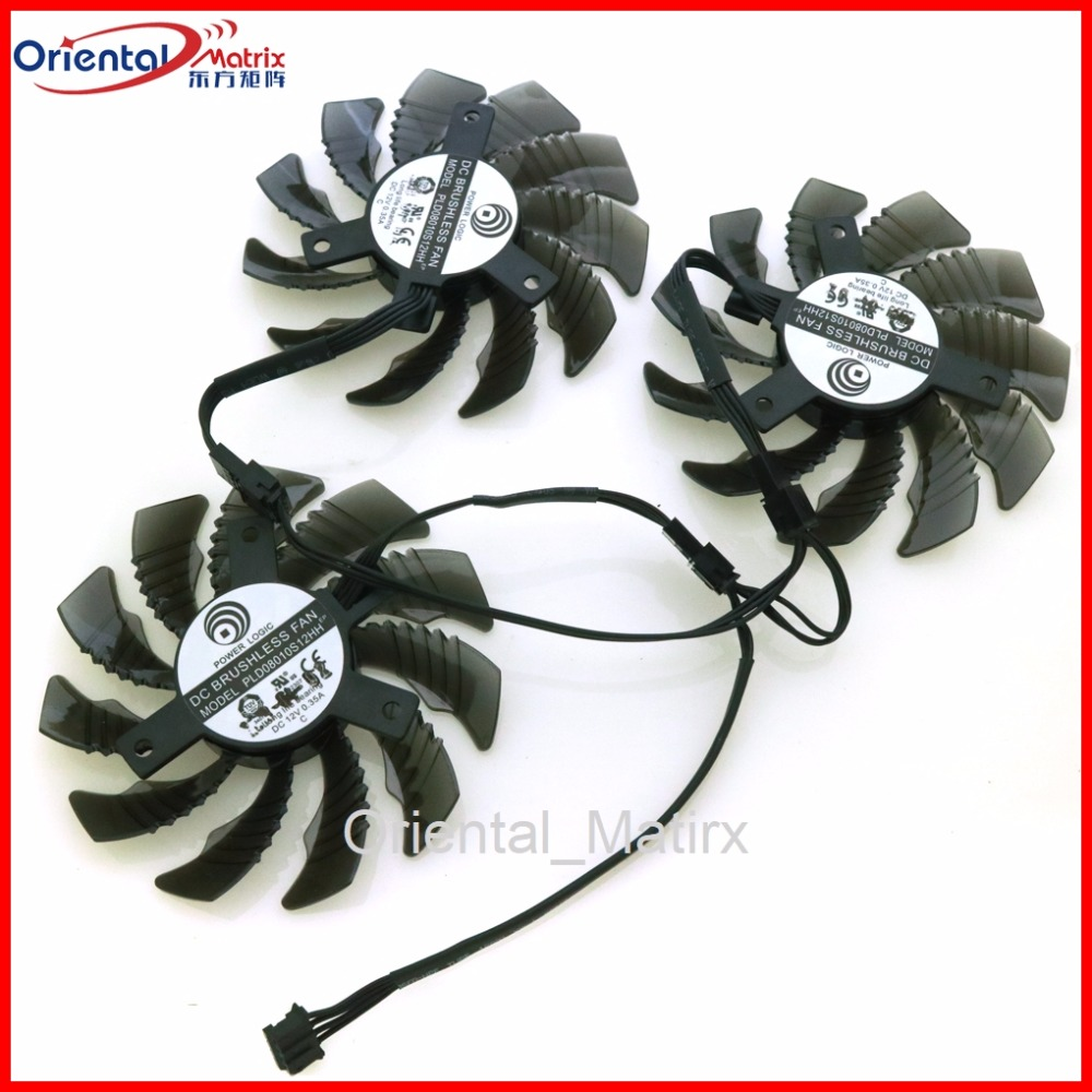 PLD08010S12HH PLD08010S12H DC12V 75mm Ventilador Para Gigabyte GTX1050 1060 1070 1080 G1 N950OC N960G1 N970 Placa Gráfica Ventilador de Refrigeração