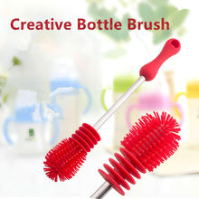 Creative Bottle Brush Unique design For Baby Bottles Scrubbing Silicone Cleaning Tool Kitchen Cleaner For Washing Cleaning Brand(China)