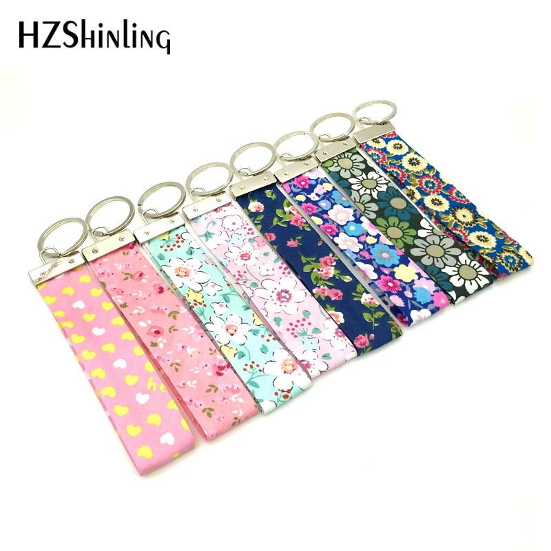 2018 New Fabric Wrist Key Chain Spring Fling Wristlet Key Fob Yellow White Hearts Keyring Pink Flowers Keychain Gifts For Girl