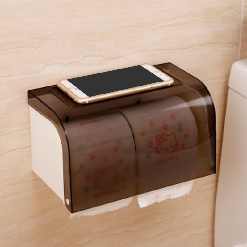 1pcs Eco friendly Abs Toilet Tissue Box Sanitary Ware Suction Cup Cover Paper Holders Bathroom Waterproof Toilet Paper Holder