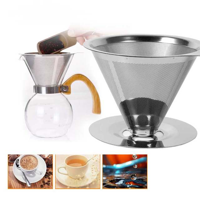 Stainless Steel Coffee Filters Reusable V Type Filter Cup Cone Drip