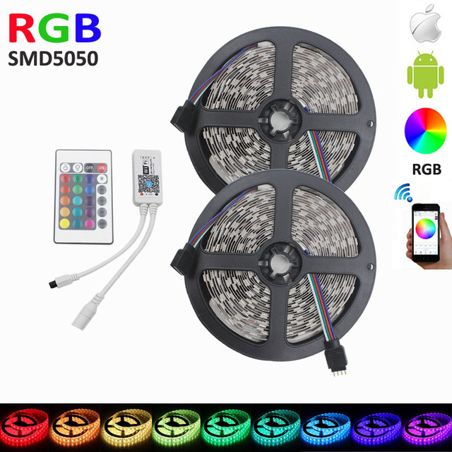 Wifi 10M RGB LED Strip 600ledS 60leds/m smd 5050 fiexible light DC12V RGB tape for christmas decoration and WiFi Controller